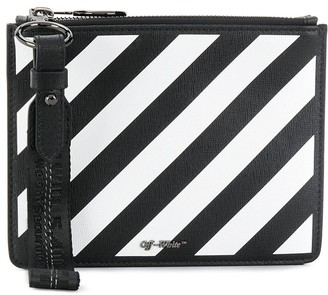 Off-White diagonal stripe zipped pouch