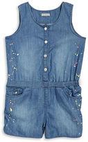 Calvin Klein Jeans Girls 2-6x Little Girls Paint Splatter Chambray Romper