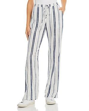 Bella Dahl Frayed Striped Wide-Leg Pants
