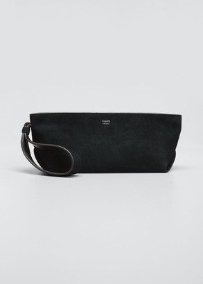 KHAITE Alma Suede Envelope Zip Clutch Bag