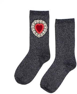 Laines London Black / Silver Glitter Socks With Diamante Heart Brooch