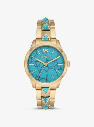 Michael Kors Runway Mercer Gold-Tone and Turquoise Watch