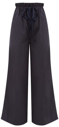 White Story - Masquerade Paperbag-waist Cotton Wide-leg Trousers - Navy
