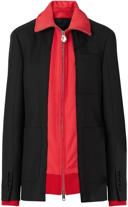 Burberry Track Top Detail Wool Twill Tailored Jacket
