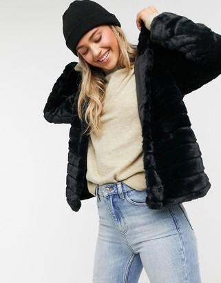 JDY Emily faux fur hoodie jacket in black