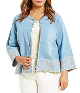 Multiples Plus Zip-Front Embroidered Accent Detail Denim Jacket