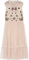 Needle & Thread Embellished Lace-trimmed Tulle Dress - Blush