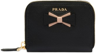 Prada bow-embellished Saffiano coin purse