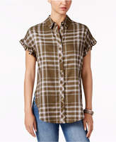 Buffalo David Bitton Markus Plaid Ruffle-Cuff Shirt