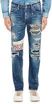 Fdmtl Men's Distressed Patchwork Jeans-Blue Size 36