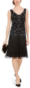 J Kara Beaded Drop-Waist Flapper Dress
