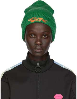 Off-White Off White Green Bubble Font Beanie