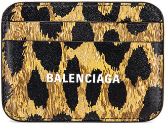 Balenciaga Leopard Cash Card Holder in Beige & White | FWRD