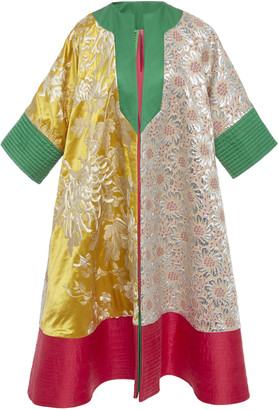RIANNA + NINA Exclusive Paneled Brocade And Duchess Silk-Satin Coat