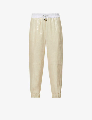 Brunello Cucinelli Relaxed-fit high-rise linen and stretch-cotton trousers