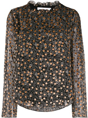 See by Chloe Loose-Fit Print Mix Blouse