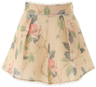 Zimmermann Kirra Floral Lace Trimmed Shorts
