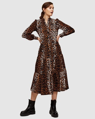 Topshop Animal Tiered Shirt Dress