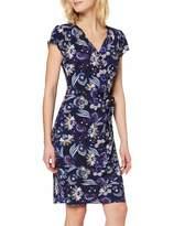 Yumi Navy Indian Flower Print Jersey Wrap Dress