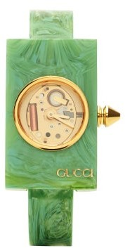 Gucci Logo-embossed Marbled-resin Watch - Green