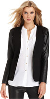 Vince Camuto Jacket, Long-Sleeve Faux-Leather-Panel Blazer