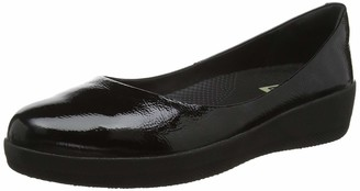 FitFlop Women's Patent Superballerina Ballet Flat Grey Size: 3 UK