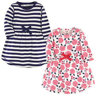 Touched By Nature Touched by Nature Girls' Casual Dresses Coral - Navy Stripe & White Rose Organic Cotton Long-Sleeve Dress Set - Infant & Toddler