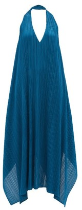 Pleats Please Issey Miyake Echo Halterneck Technical-pleated Dress - Blue