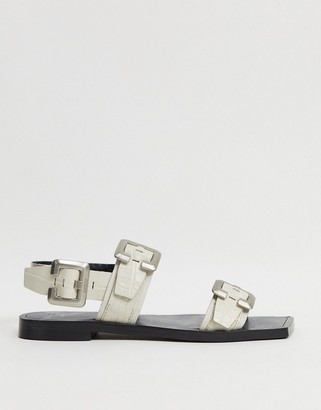Bronx sling back sandals in off white leather