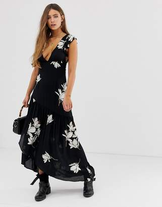 Free People She's A Waterfall maxi dress in black combo