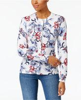 Karen Scott Arctic Artistry Floral-Pattern Cardigan, Only at Macy's