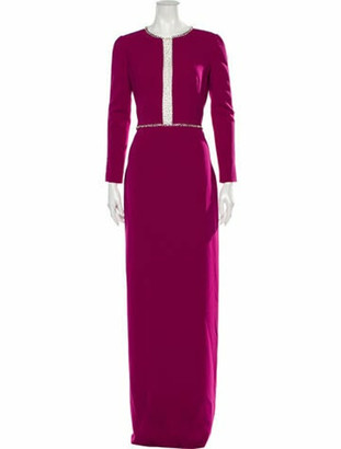 Jenny Packham Scoop Neck Long Dress Purple