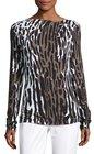 st john collection draped leopardprint longsleeve tee leopard