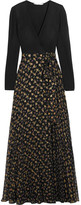 Diane von Furstenberg Aviva Printed Fil Coupé Silk-blend And Stretch-knit Wrap Gown - Black