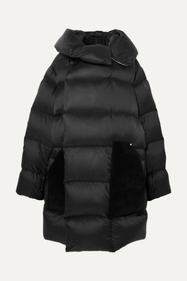 Rick Owens Sisy Oversized Quilted Shell And Suede Down Coat - Black