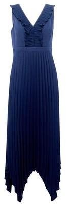 Dorothy Perkins Womens Luxe Blue Pleated Trim Hanky Dress, Blue