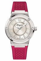 Salvatore Ferragamo 33mm F-80 Watch w/ Rubber Strap, Hot Pink