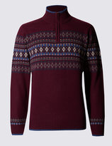 Marks And Spencer Fairisle Half Zip Jumper With Wool