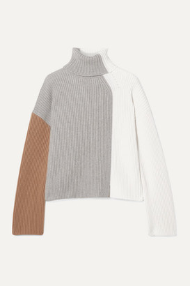 Loro Piana Color-block Ribbed Cashmere Turtleneck Sweater - Ivory