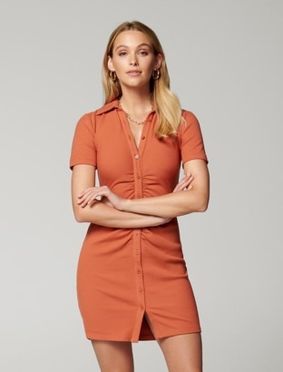 Forever New Tara Short-Sleeve Ruched Shirt Dress - Rust - 10