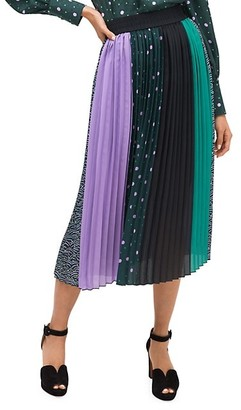 Kate Spade Print Colorblock Pleated Midi Skirt