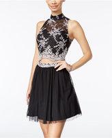 As U Wish Juniors' 2-Pc. Lace Fit & Flare Dress