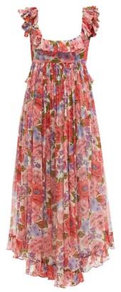 Zimmermann Ruffled Square-neck Poppy-print Silk Dress - Pink Print