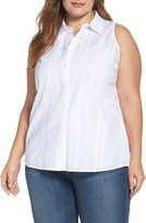 Vince Camuto Plus Size Women's Eyelet Embroidered High/low Shirt