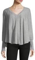 Neiman Marcus V-Neck Cashmere Pullover Poncho Sweater