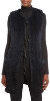 Elie Tahari Jill Long Ribbon-Tie Rabbit Fur Vest, Stargazer/Black