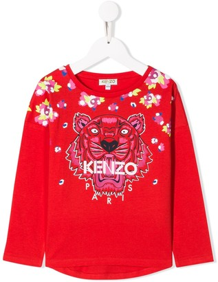 Kenzo Kids Embroidered Tiger Logo Top
