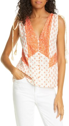 Rebecca Taylor Mix Print Sleeveless Silk Top