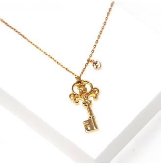 Johnny Loves Rosie Gold Key and Crystal Necklace