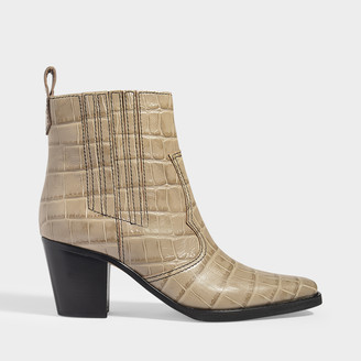 Ganni Western Ankle Boots In Brown Croc Embossed Leather